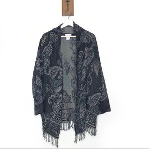 Soft Surroundings paisley fringe shawl sweater